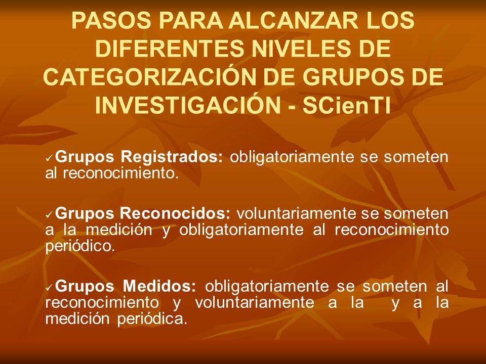 PASOS PARA ALCANZAR LOS DIFERENTES NIVELES DE CATEGORIZACIÓN DE GRUPOS DE INVESTIGACIÓN - SCienTI Grupos Registrados: obligatoriamente se someten al reconocimiento.