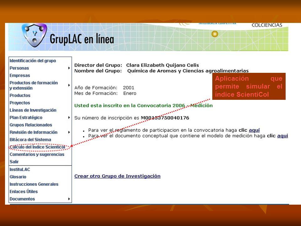 Aplicación que permite simular el índice ScientiCol