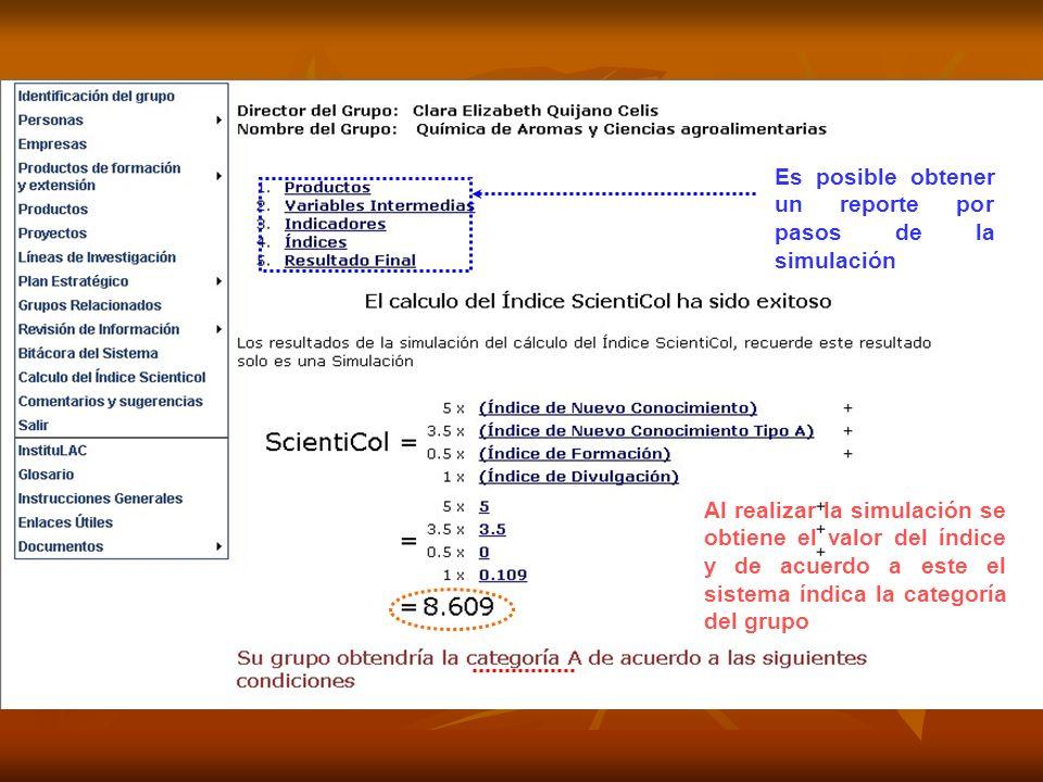 Al realizar la simulación se obtiene el valor del índice y de acuerdo a este el sistema índica la categoría del grupo Es posible obtener un reporte por pasos de la simulación