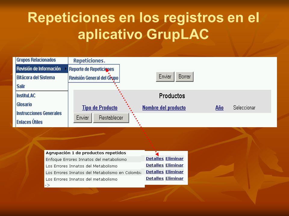 Repeticiones en los registros en el aplicativo GrupLAC