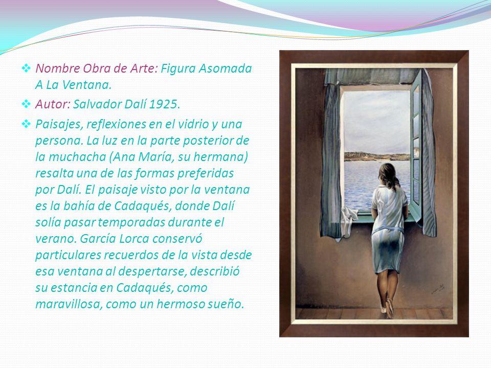 . Nombre Obra de Arte: Figura Asomada A La Ventana. Autor: Salvador Dalí 1925. Paisajes, reflexiones en el vidrio y una persona. La luz en la parte po