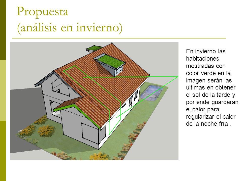 Propuesta (análisis en invierno) En invierno las habitaciones mostradas con color verde en la imagen serán las ultimas en obtener el sol de la tarde y por ende guardaran el calor para regularizar el calor de la noche fría.