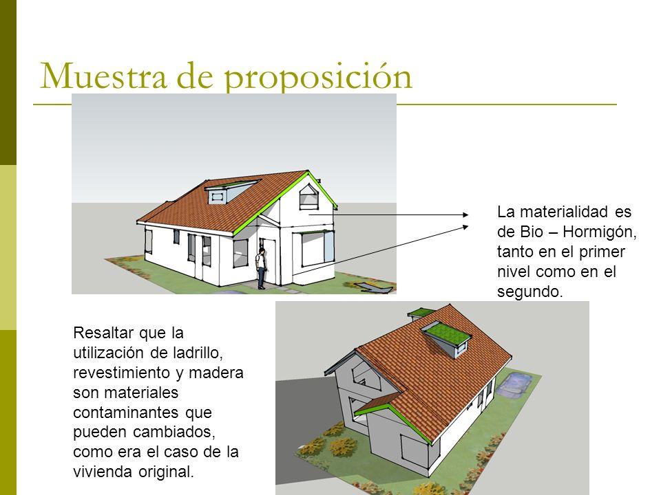 Muestra de proposición La materialidad es de Bio – Hormigón, tanto en el primer nivel como en el segundo.