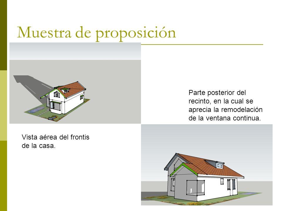 Muestra de proposición Vista aérea del frontis de la casa.