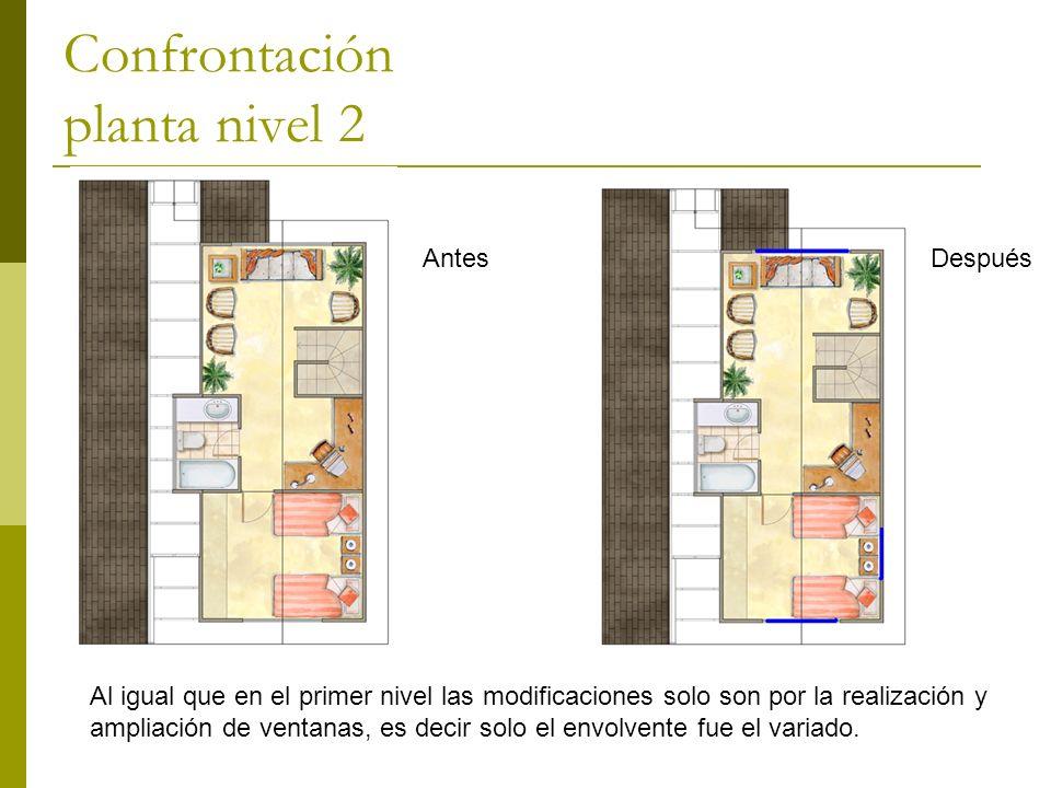 Confrontación planta nivel 2 AntesDespués Al igual que en el primer nivel las modificaciones solo son por la realización y ampliación de ventanas, es decir solo el envolvente fue el variado.