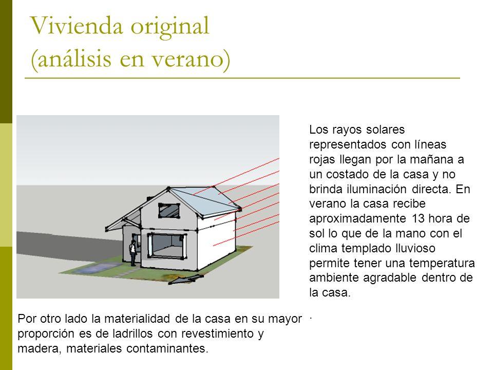 Vivienda original (análisis en verano) Los rayos solares representados con líneas rojas llegan por la mañana a un costado de la casa y no brinda iluminación directa.