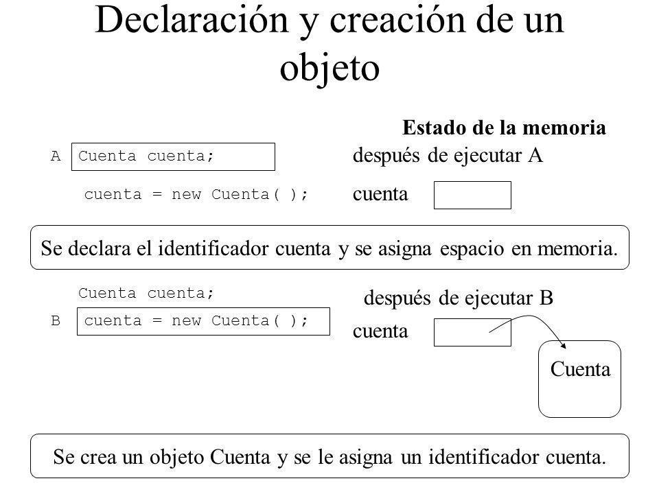 Declaración y creación de un objeto Cuenta cuenta; Estado de la memoria cuenta = new Cuenta( ); después de ejecutar A cuenta Se declara el identificad