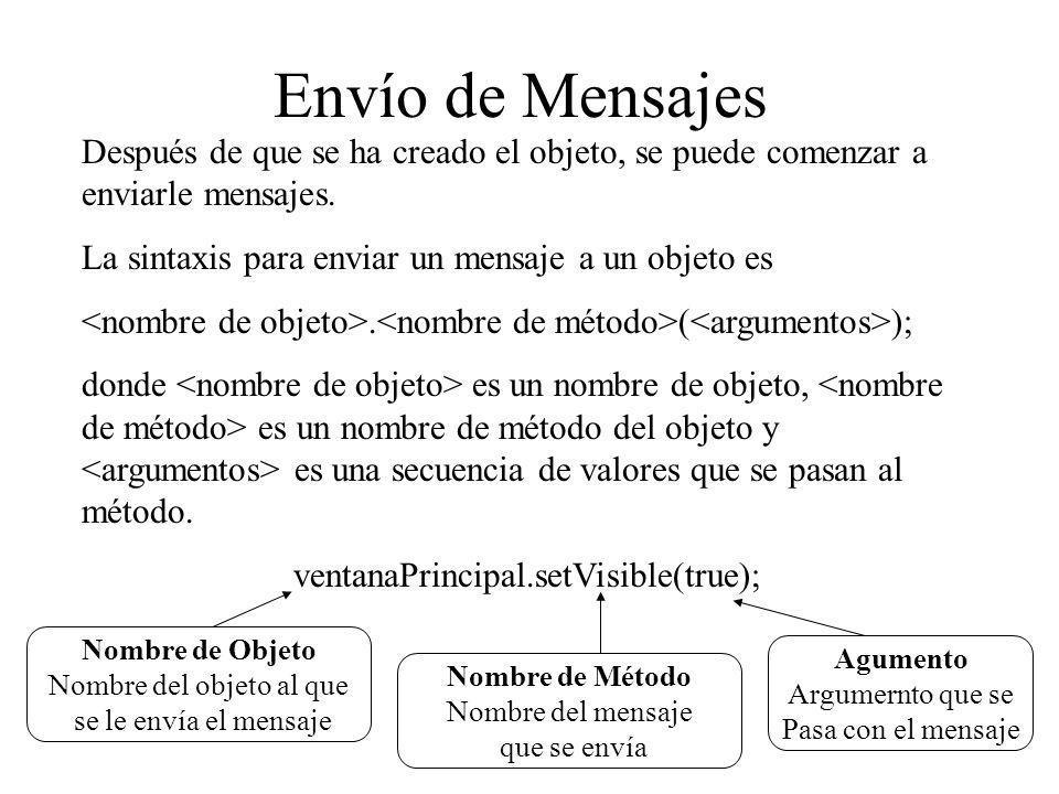 Envío de Mensajes Después de que se ha creado el objeto, se puede comenzar a enviarle mensajes. La sintaxis para enviar un mensaje a un objeto es. ( )