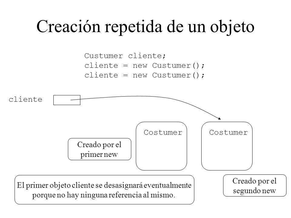 Creación repetida de un objeto El primer objeto cliente se desasignará eventualmente porque no hay ninguna referencia al mismo. Costumer cliente Custu