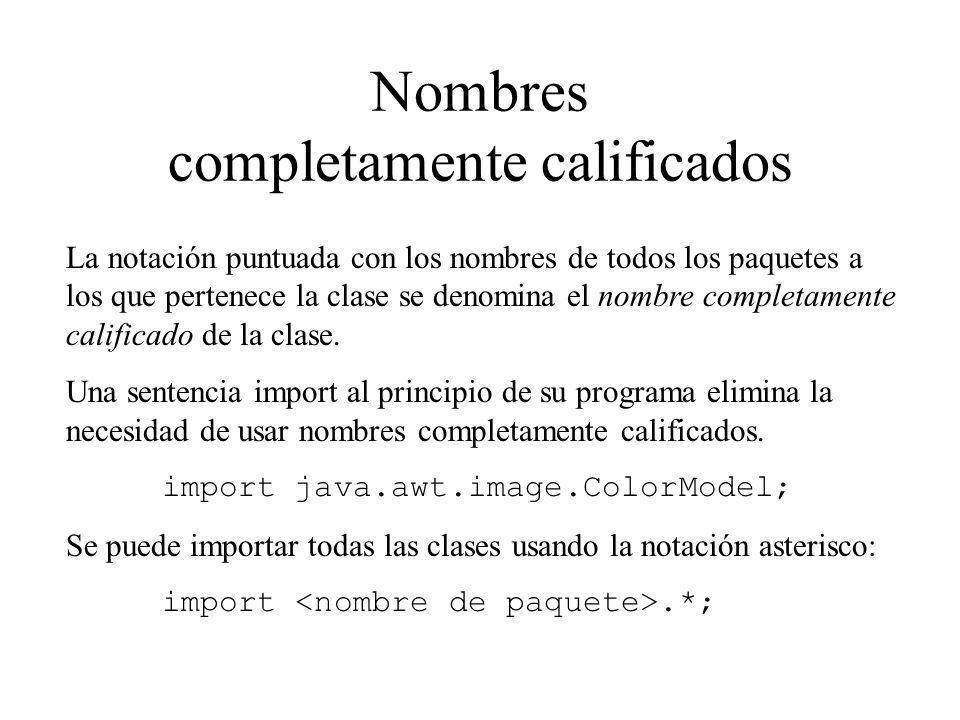 Nombres completamente calificados La notación puntuada con los nombres de todos los paquetes a los que pertenece la clase se denomina el nombre comple