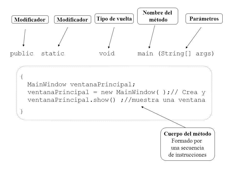 Modificador Tipo de vuelta Nombre del método Parámetros public static void main (String[] args) { MainWindow ventanaPrincipal; ventanaPrincipal = new