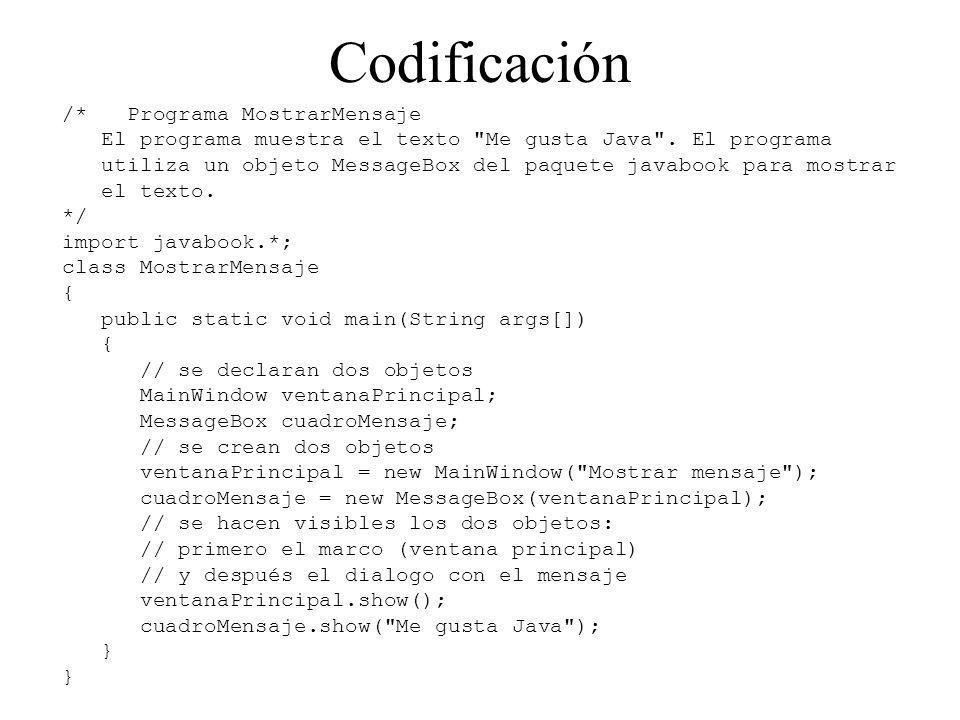 Codificación /* Programa MostrarMensaje El programa muestra el texto