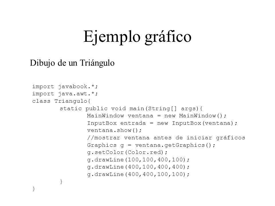 Ejemplo gráfico import javabook.*; import java.awt.*; class Triangulo{ static public void main(String[] args){ MainWindow ventana = new MainWindow();