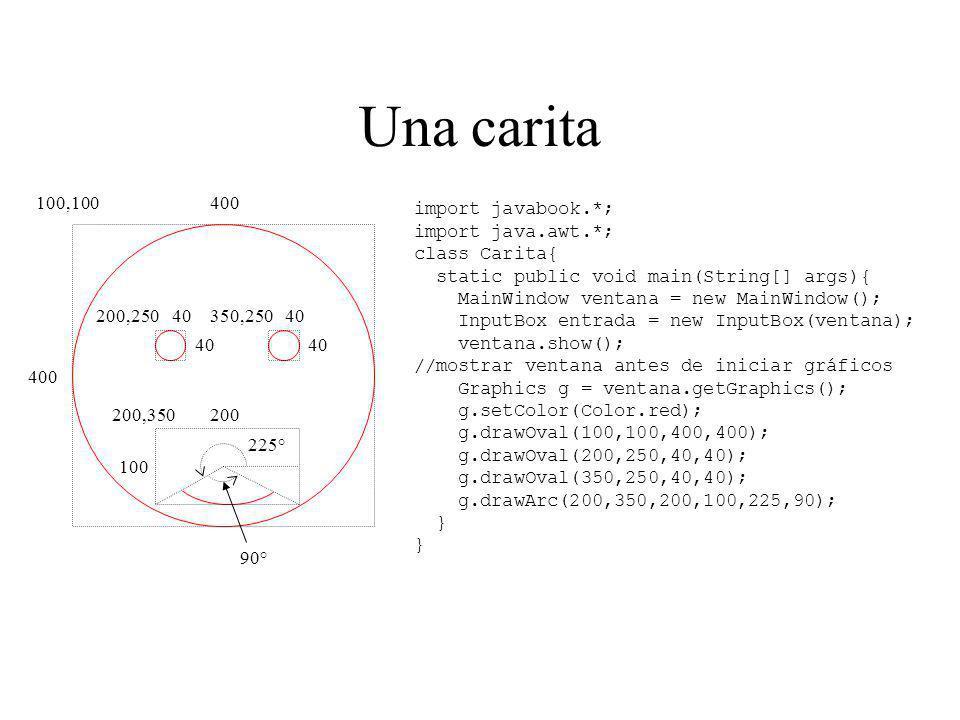 Una carita import javabook.*; import java.awt.*; class Carita{ static public void main(String[] args){ MainWindow ventana = new MainWindow(); InputBox