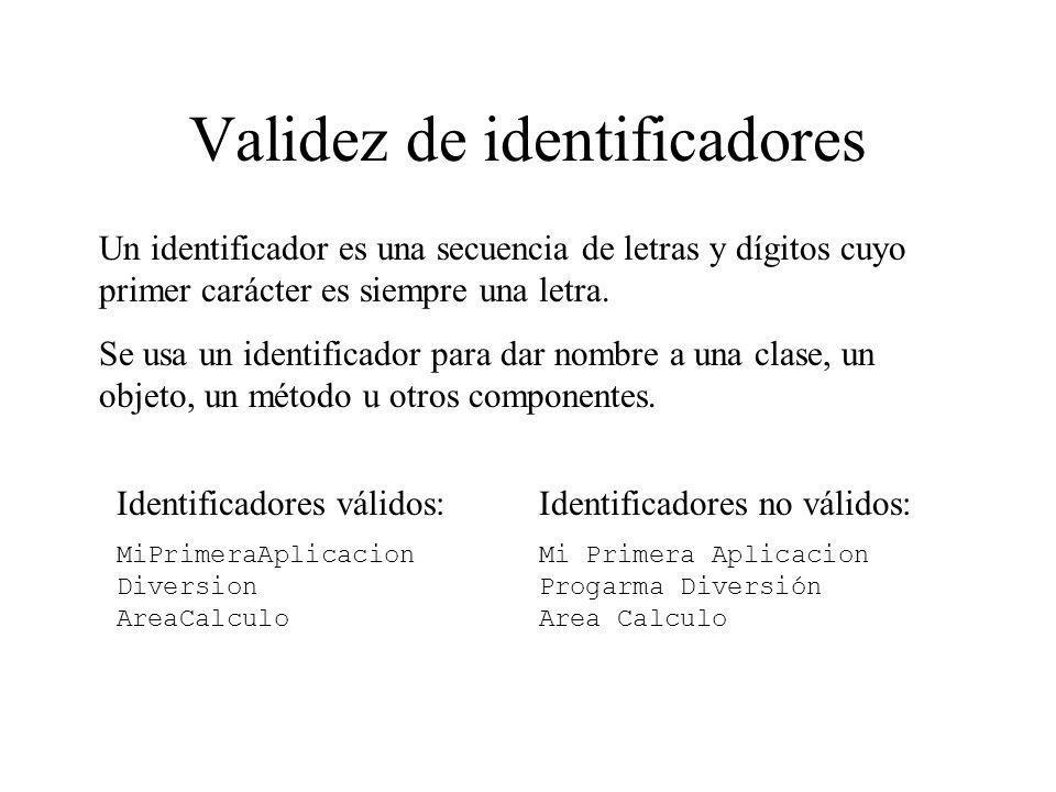 Validez de identificadores Identificadores válidos: MiPrimeraAplicacion Diversion AreaCalculo Identificadores no válidos: Mi Primera Aplicacion Progar