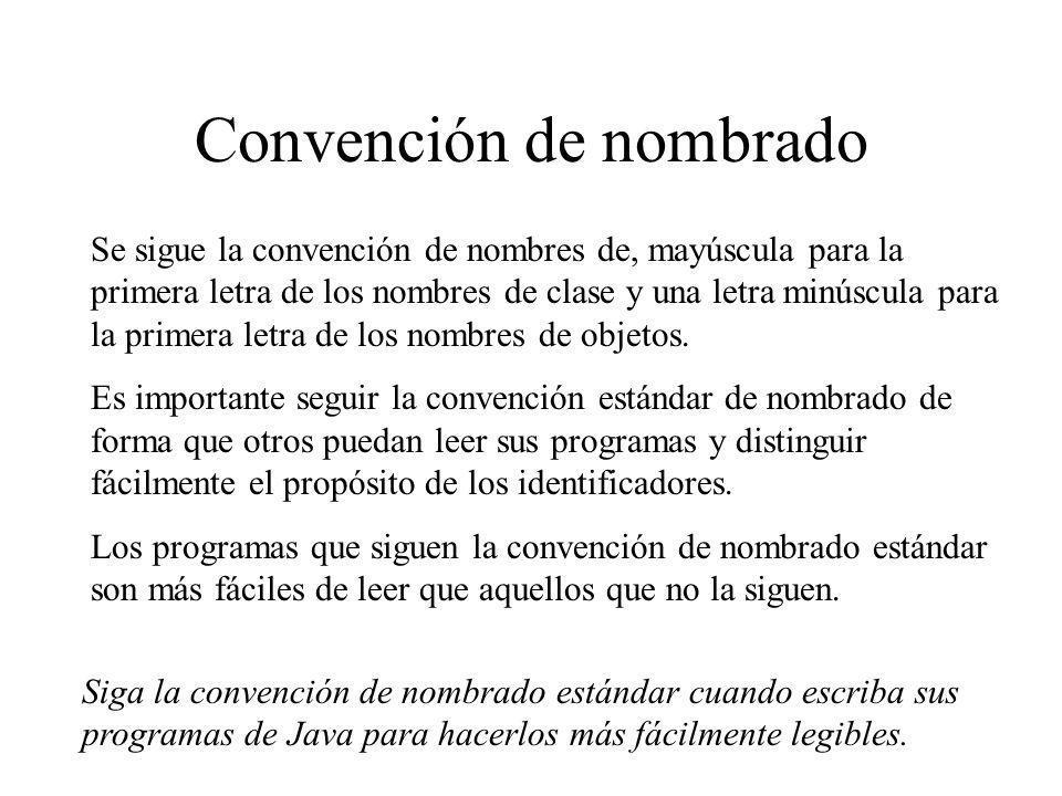 Convención de nombrado Se sigue la convención de nombres de, mayúscula para la primera letra de los nombres de clase y una letra minúscula para la pri
