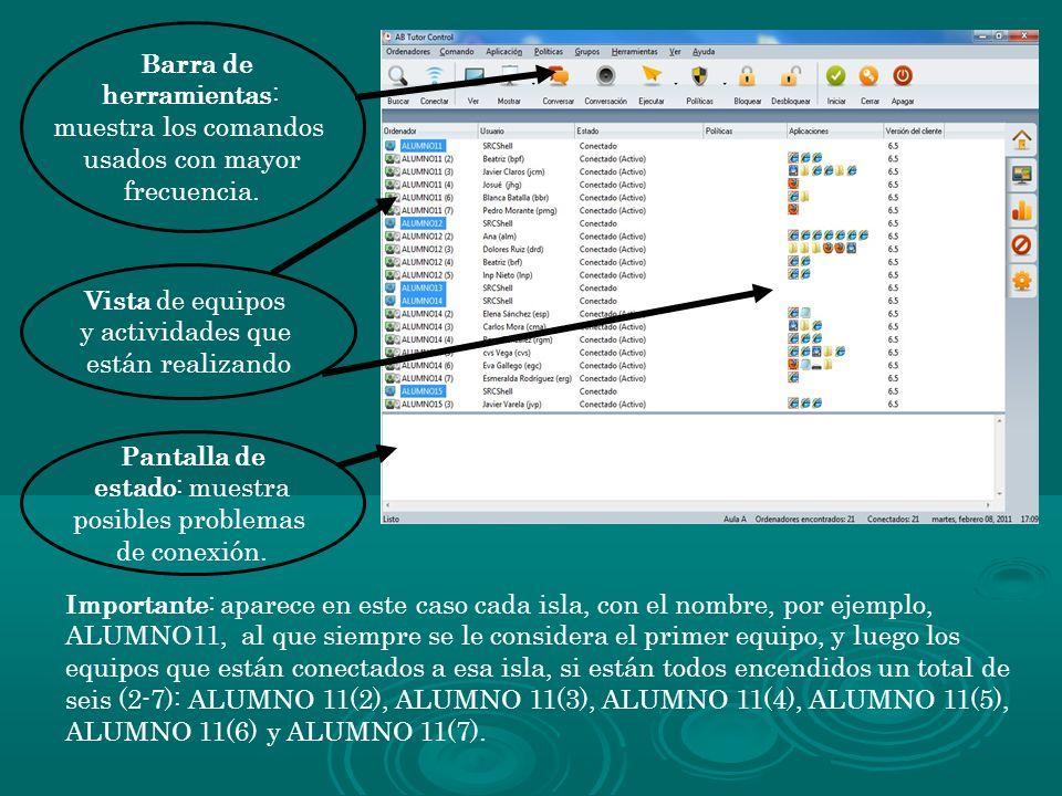 Barra de herramientas: muestra los comandos usados con mayor frecuencia. Vista de equipos y actividades que están realizando Importante: aparece en es