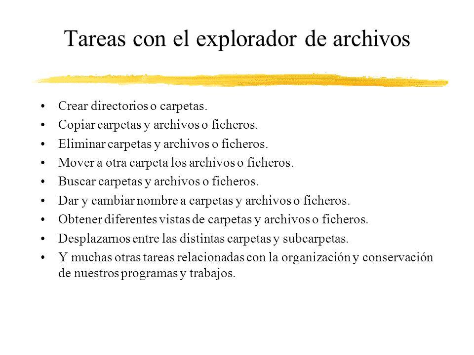 Tareas con el explorador de archivos Crear directorios o carpetas. Copiar carpetas y archivos o ficheros. Eliminar carpetas y archivos o ficheros. Mov