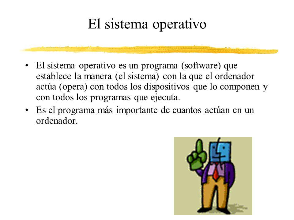 El sistema operativo El sistema operativo es un programa (software) que establece la manera (el sistema) con la que el ordenador actúa (opera) con todos los dispositivos que lo componen y con todos los programas que ejecuta.
