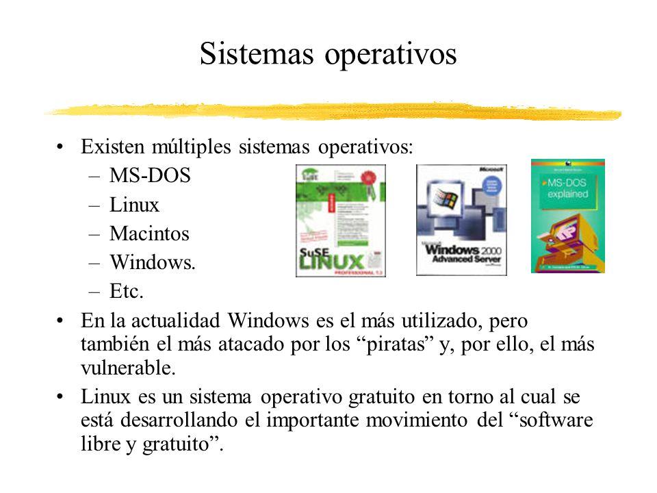 Sistemas operativos Existen múltiples sistemas operativos: –MS-DOS –Linux –Macintos –Windows. –Etc. En la actualidad Windows es el más utilizado, pero