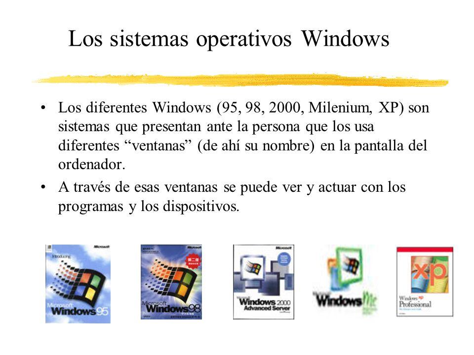 Los sistemas operativos Windows Los diferentes Windows (95, 98, 2000, Milenium, XP) son sistemas que presentan ante la persona que los usa diferentes ventanas (de ahí su nombre) en la pantalla del ordenador.