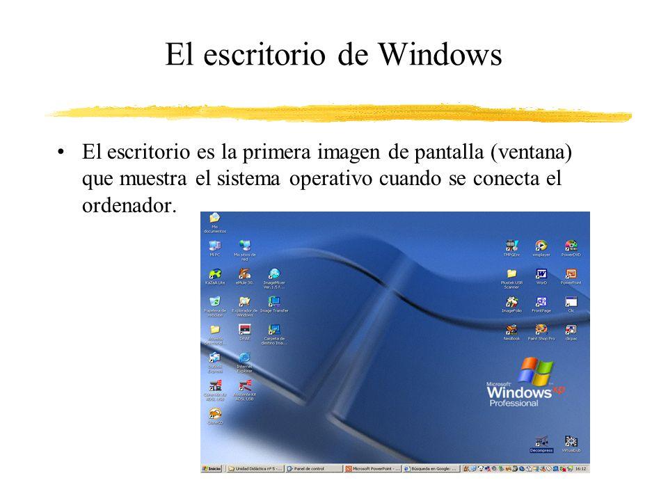 El escritorio de Windows El escritorio es la primera imagen de pantalla (ventana) que muestra el sistema operativo cuando se conecta el ordenador.