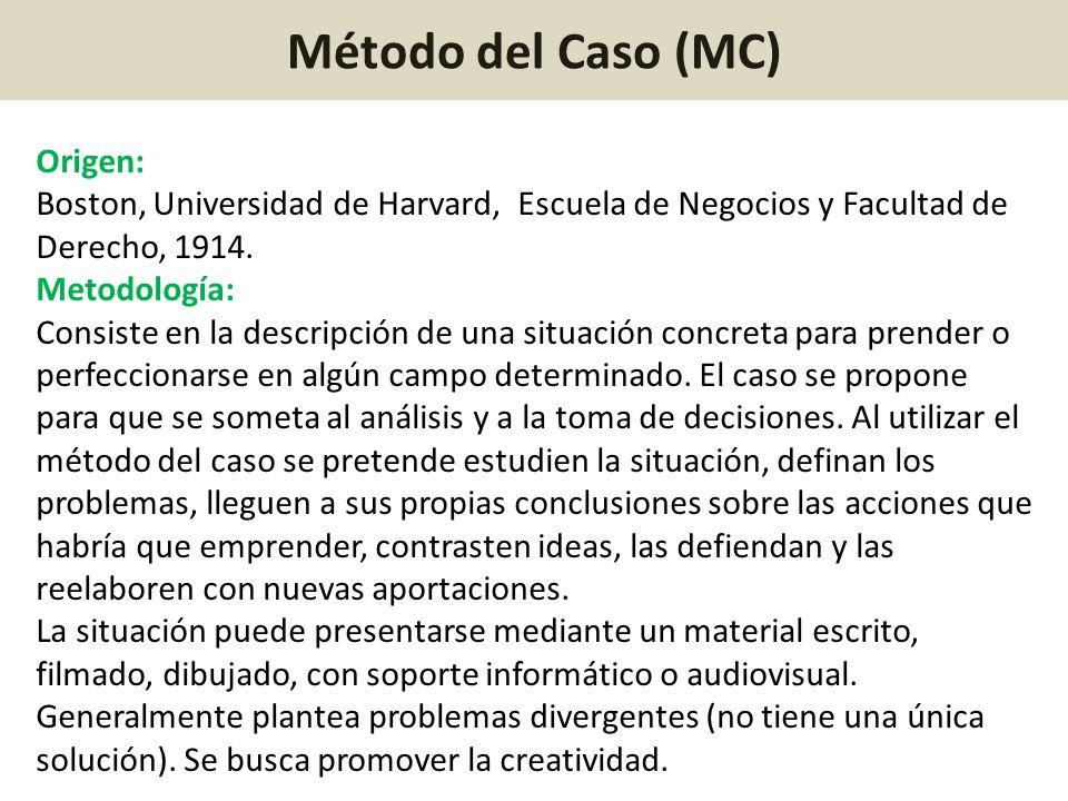 Método del Caso (MC) Origen: Boston, Universidad de Harvard, Escuela de Negocios y Facultad de Derecho, 1914. Metodología: Consiste en la descripción