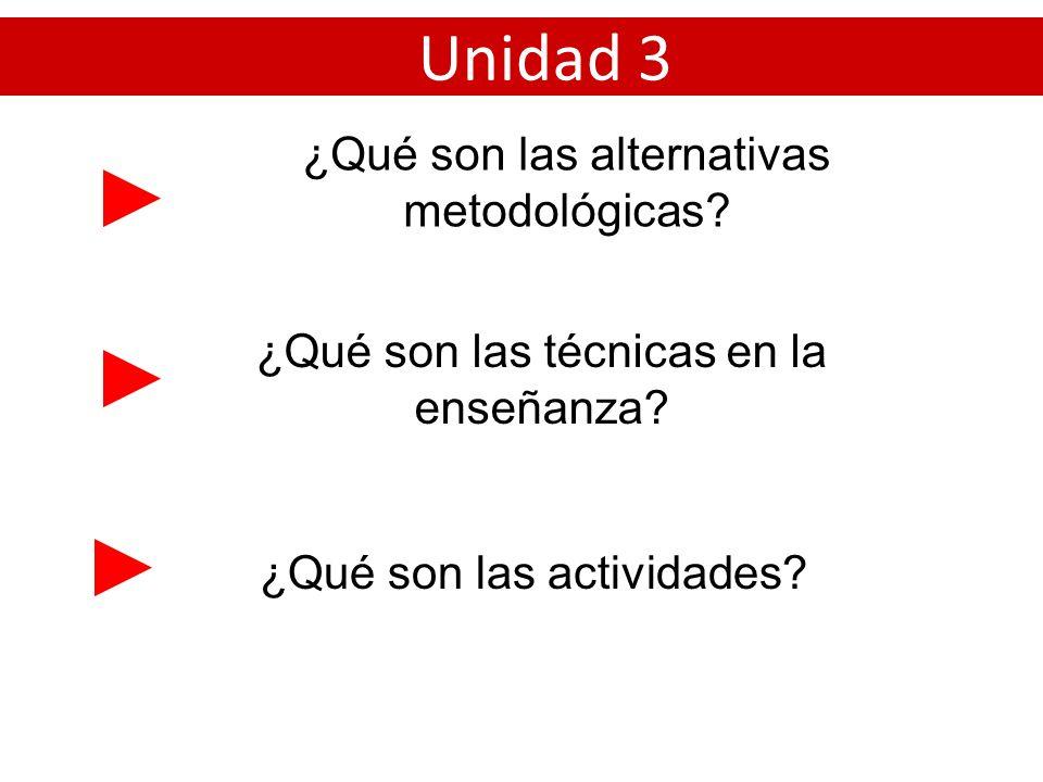 ¿Qué son las alternativas metodológicas? Unidad 3 ¿Qué son las técnicas en la enseñanza? ¿Qué son las actividades?