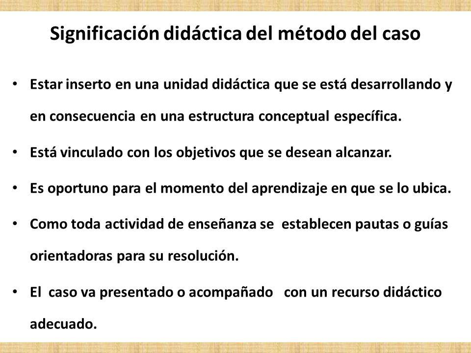 Significación didáctica del método del caso Estar inserto en una unidad didáctica que se está desarrollando y en consecuencia en una estructura concep
