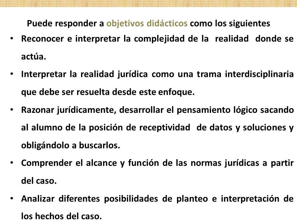 Puede responder a objetivos didácticos como los siguientes Reconocer e interpretar la complejidad de la realidad donde se actúa. Interpretar la realid