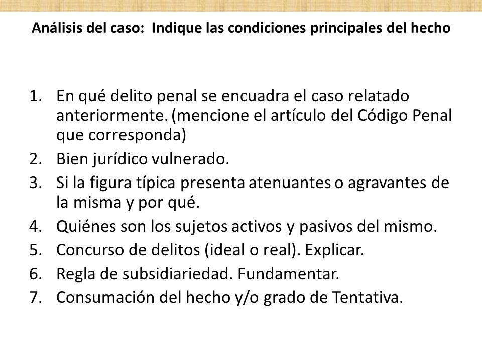 Análisis del caso: Indique las condiciones principales del hecho 1.En qué delito penal se encuadra el caso relatado anteriormente. (mencione el artícu