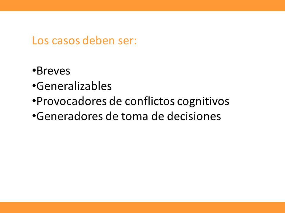 Los casos deben ser: Breves Generalizables Provocadores de conflictos cognitivos Generadores de toma de decisiones