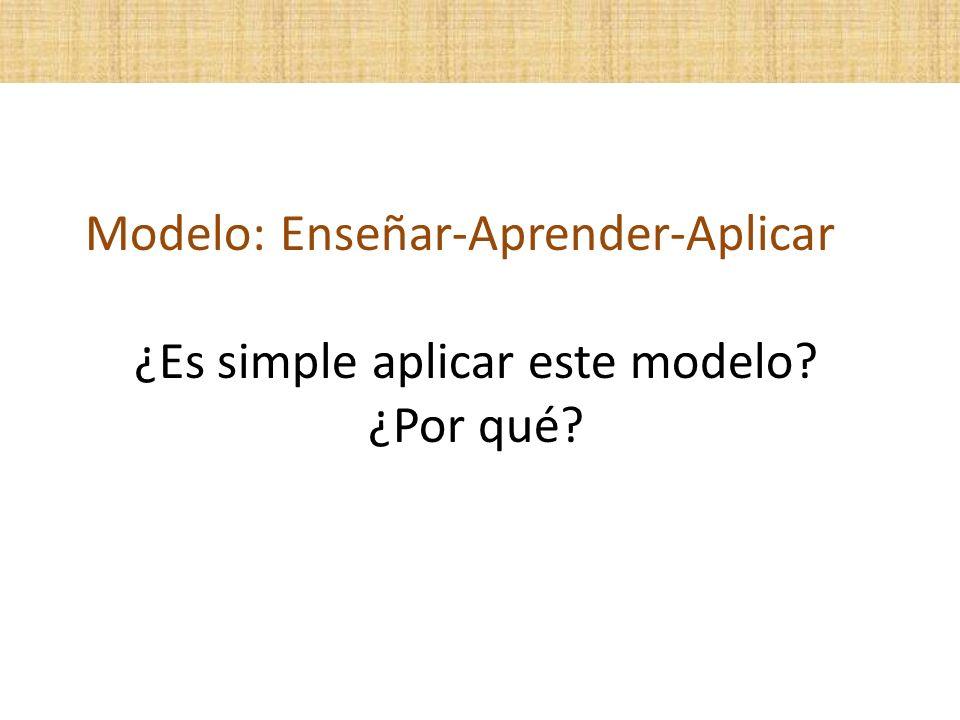 Modelo: Enseñar-Aprender-Aplicar ¿Es simple aplicar este modelo? ¿Por qué?