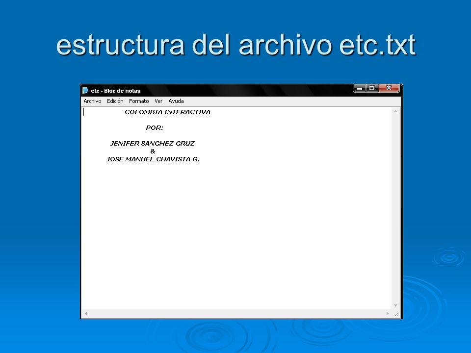 estructura del archivo etc.txt