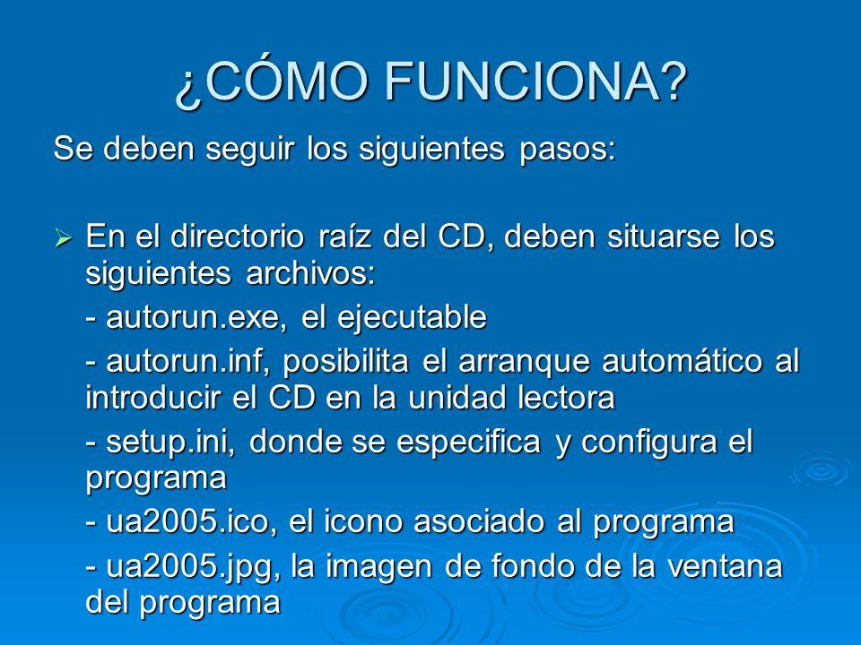 ¿CÓMO FUNCIONA? Se deben seguir los siguientes pasos: En el directorio raíz del CD, deben situarse los siguientes archivos: En el directorio raíz del