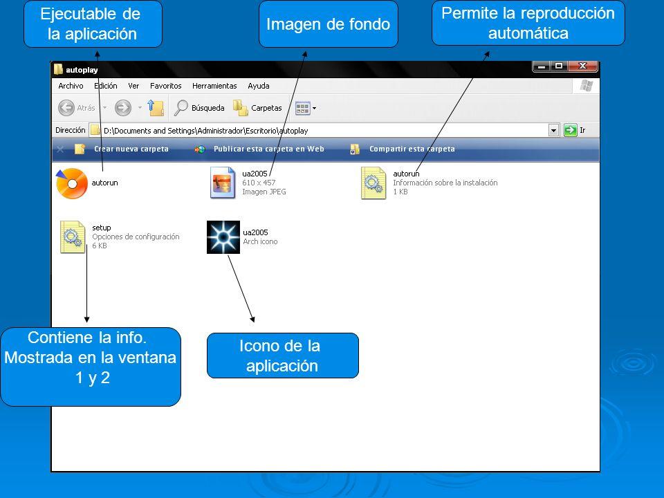 Ejecutable de la aplicación Imagen de fondo Permite la reproducción automática Icono de la aplicación Contiene la info. Mostrada en la ventana 1 y 2