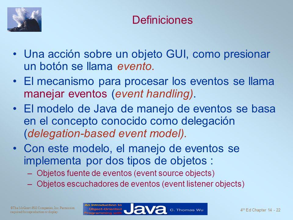 ©The McGraw-Hill Companies, Inc. Permission required for reproduction or display. 4 th Ed Chapter 14 - 22 Definiciones Una acción sobre un objeto GUI,