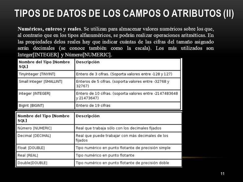 TIPOS DE DATOS DE LOS CAMPOS O ATRIBUTOS (II) 11 Numéricos, enteros y reales.