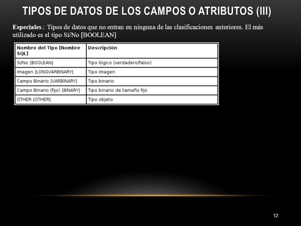TIPOS DE DATOS DE LOS CAMPOS O ATRIBUTOS (III) 12 Especiales.: Tipos de datos que no entran en ninguna de las clasificaciones anteriores.