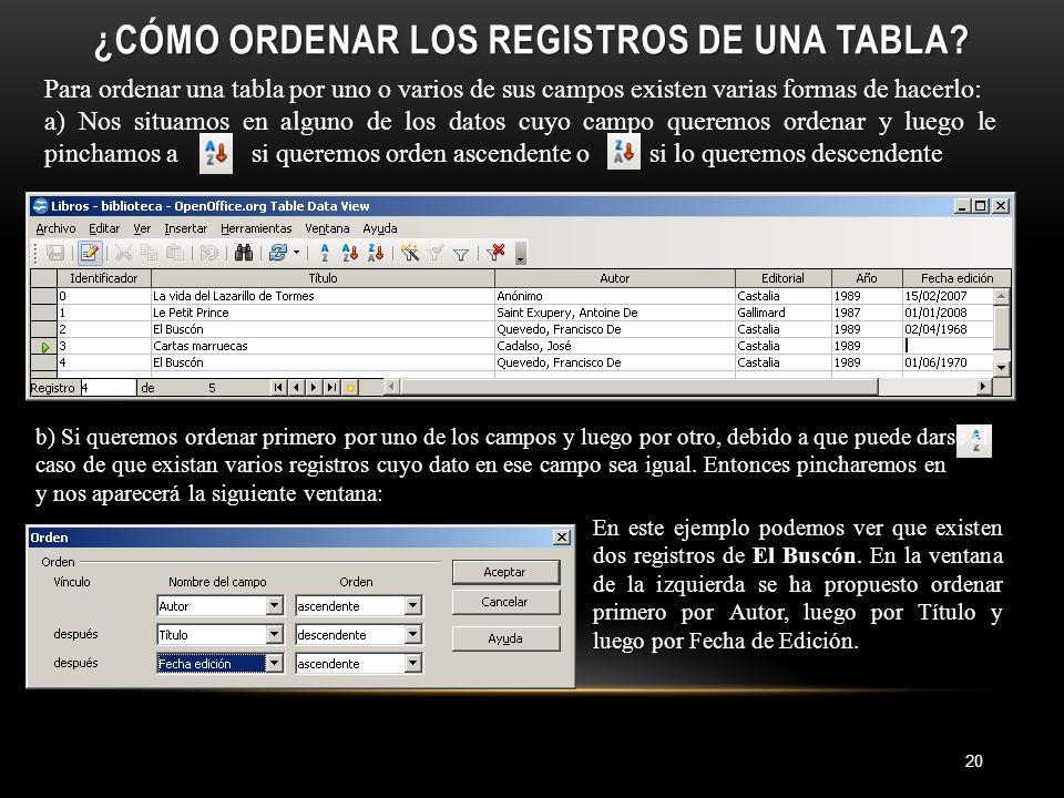 ¿CÓMO ORDENAR LOS REGISTROS DE UNA TABLA.