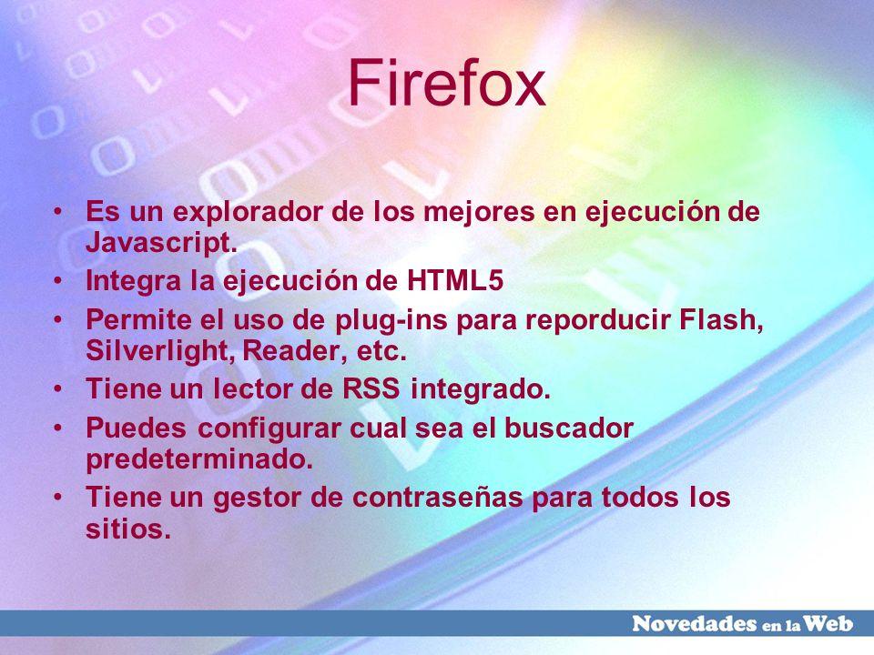 Firefox Es un explorador de los mejores en ejecución de Javascript. Integra la ejecución de HTML5 Permite el uso de plug-ins para reporducir Flash, Si