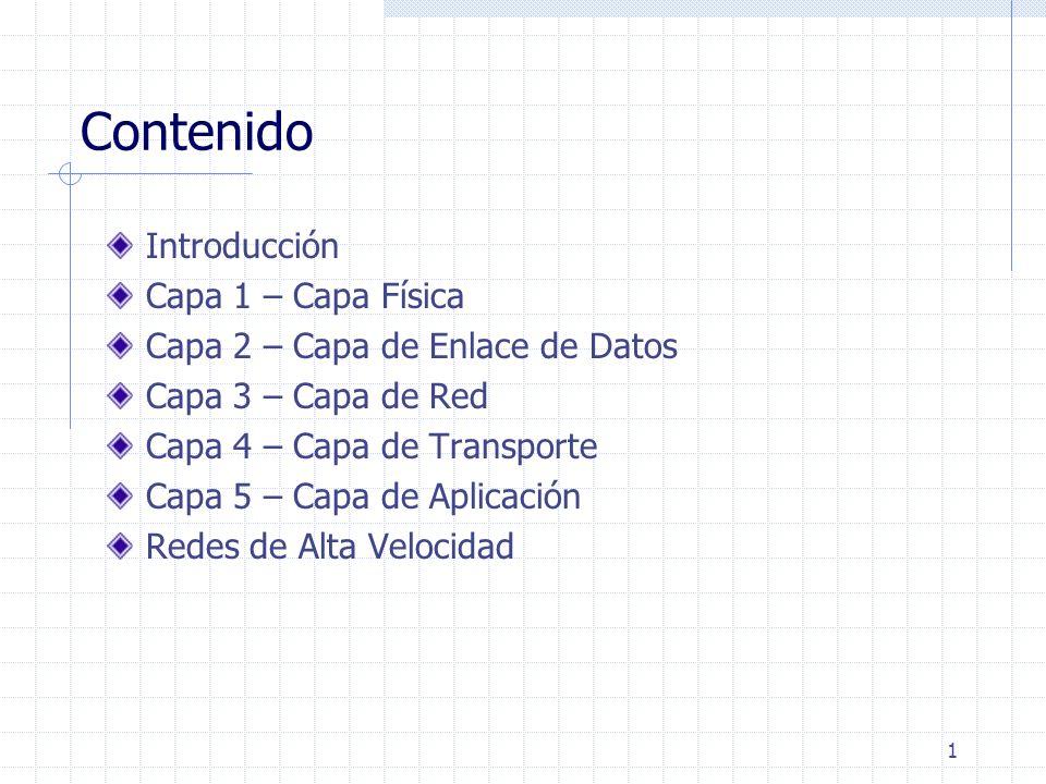 1 Contenido Introducción Capa 1 – Capa Física Capa 2 – Capa de Enlace de Datos Capa 3 – Capa de Red Capa 4 – Capa de Transporte Capa 5 – Capa de Aplic