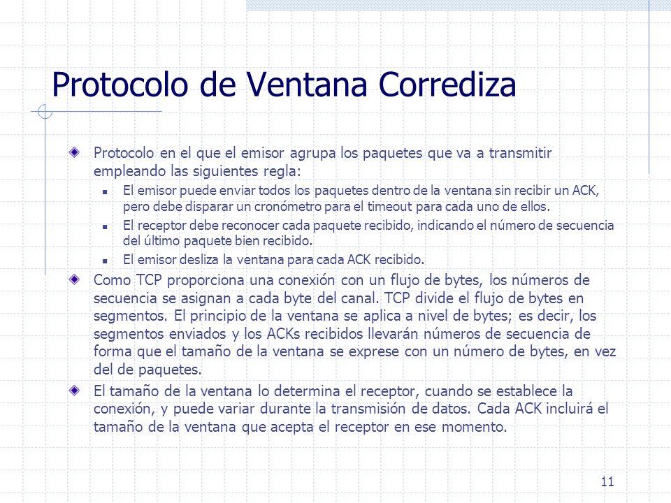 11 Protocolo de Ventana Corrediza Protocolo en el que el emisor agrupa los paquetes que va a transmitir empleando las siguientes regla: El emisor pued