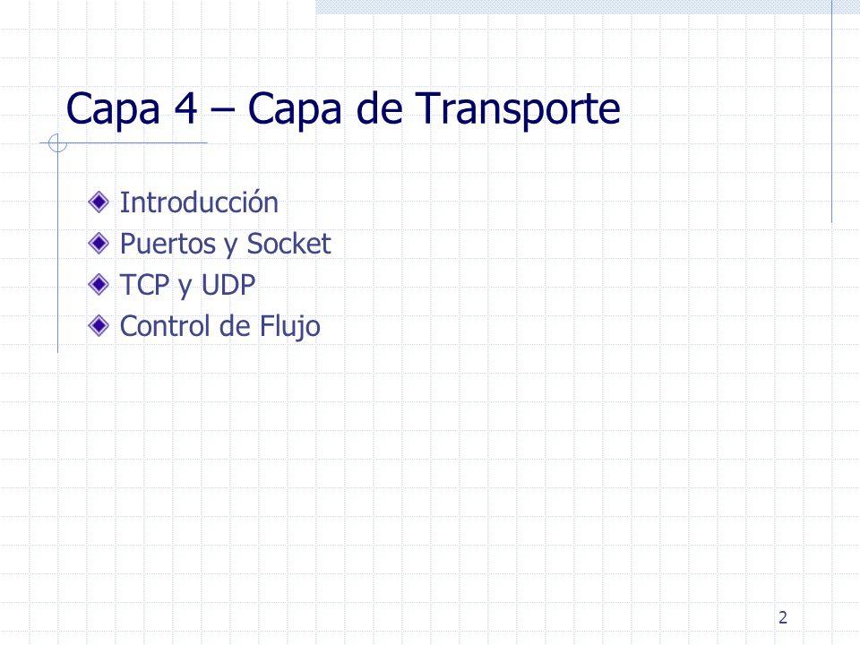 2 Capa 4 – Capa de Transporte Introducción Puertos y Socket TCP y UDP Control de Flujo