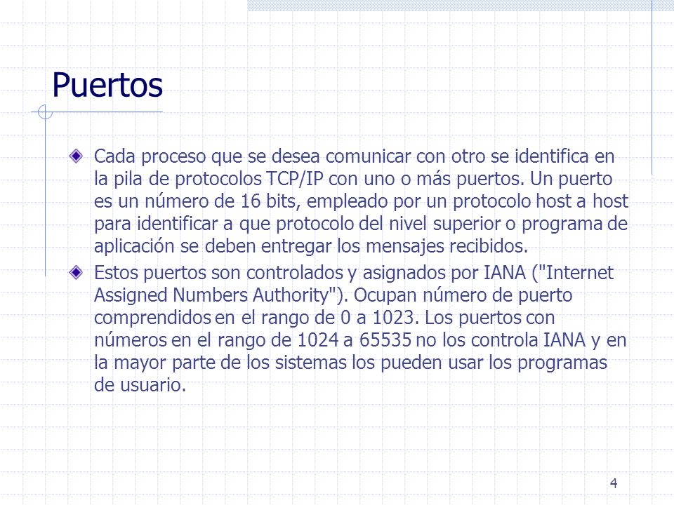 5 Ejemplos de Puertos Protocolo Puerto Descripción echo 7/tcp/udp Echo (Ping) ftp20/tcpFtp Command ftp 21/tcp File Transfer telnet 23/tcp Telnet smtp 25/tcp Simple Mail Transfer domain 53/tcp/udp Domain Name Server tftp 69/udp Trivial File Transfer www-http 80/tcp World Wide Web HTTP pop3 110/tcp Post Office Protocol - Version 3 snmp 161/udp SNMP