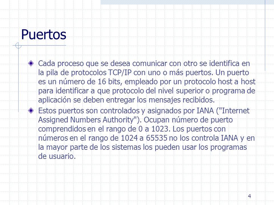 4 Puertos Cada proceso que se desea comunicar con otro se identifica en la pila de protocolos TCP/IP con uno o más puertos. Un puerto es un número de