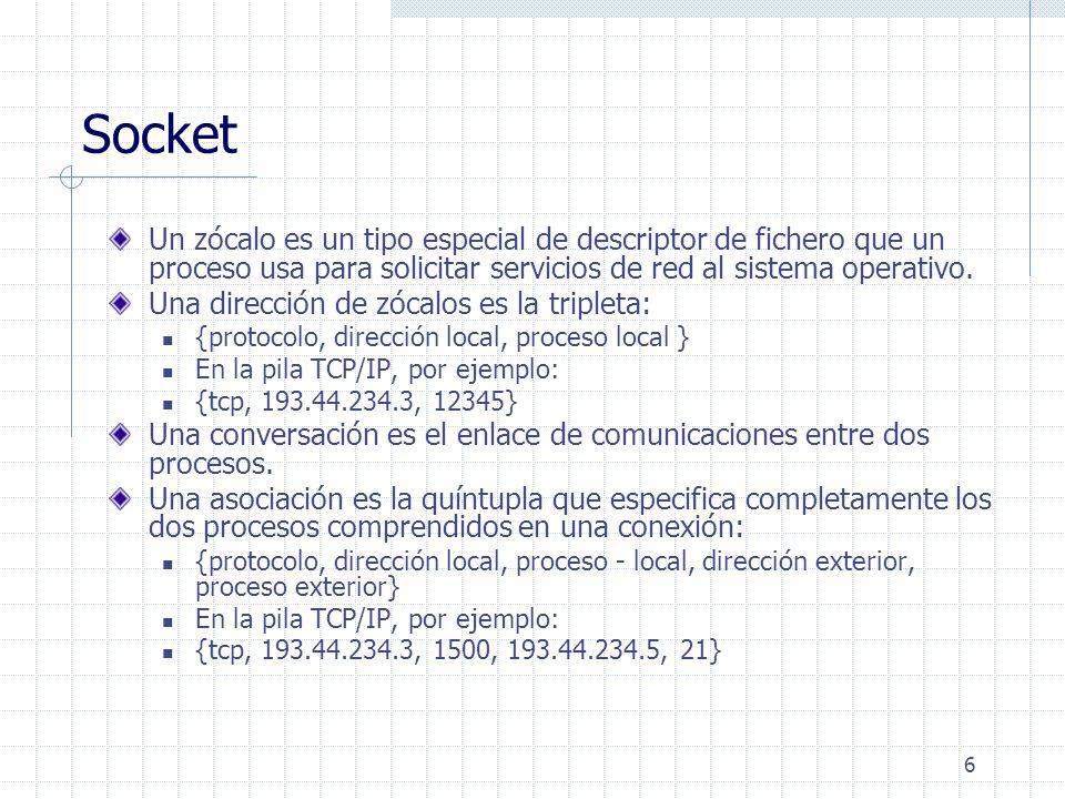 6 Socket Un zócalo es un tipo especial de descriptor de fichero que un proceso usa para solicitar servicios de red al sistema operativo. Una dirección