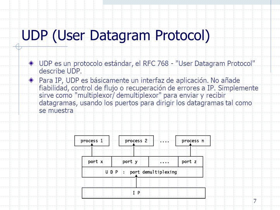 7 UDP (User Datagram Protocol) UDP es un protocolo estándar, el RFC 768 -