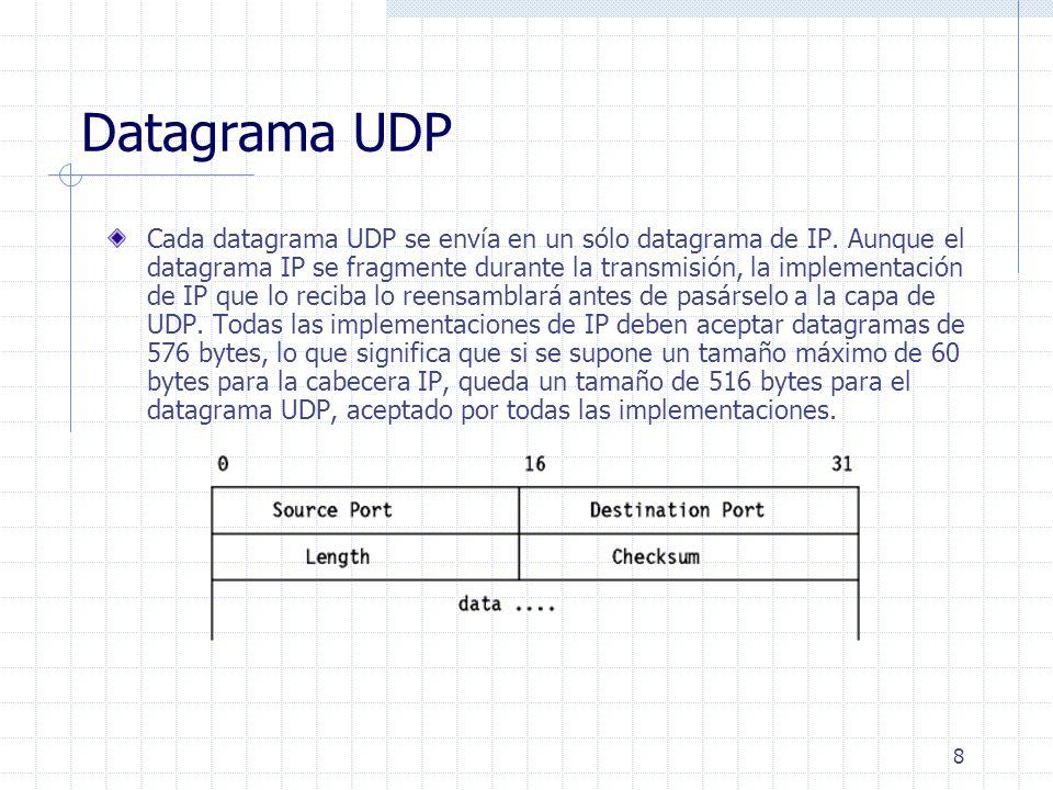 8 Datagrama UDP Cada datagrama UDP se envía en un sólo datagrama de IP. Aunque el datagrama IP se fragmente durante la transmisión, la implementación