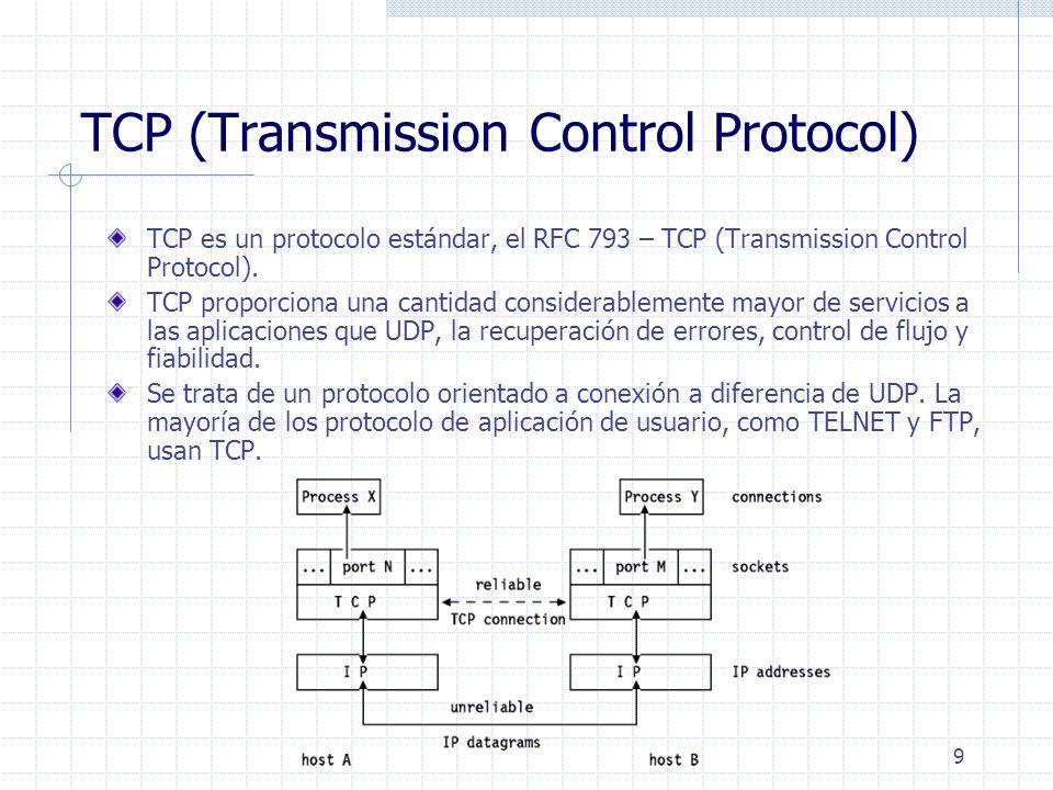 9 TCP (Transmission Control Protocol) TCP es un protocolo estándar, el RFC 793 – TCP (Transmission Control Protocol). TCP proporciona una cantidad con